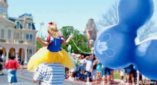 Disney World - Family, Fun, Child with balloon and princess costume